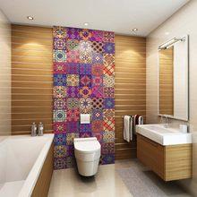Créatif Style Marocain PVC Rétro Salon Chambre Papier Peint Autocollant  Mural Cuisine étanche Salle De Bain