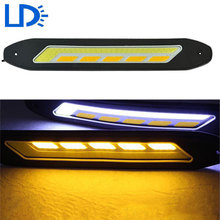 Flexible Car LED Turn Signal Light COB Daytime Running Light Yellow & White Turn Signals DRL Auto LED Lamp Car-styling Day Light