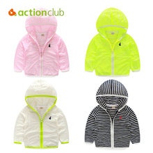 Acitonclub Baby Boys Summer Sunscreen Outerwear Kids Casual Hooded Jackets Children Boys Girls Striped Sun Protection Clothes