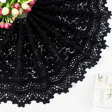 Top Quality 25cm 2yards Black Lace Water Soluble Fabric Milk Rayon Material DIY Craft Accessary Free Shipping Z265