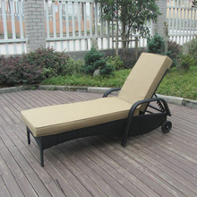 Swimming Pool / Beach Rattan Sun Lounger With Aluminium Frame transport by sea(China)