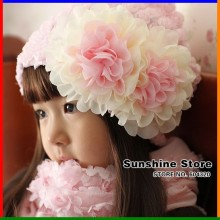 Sunshine Store #2C2666 10pcs/lot (2 COLORS) baby hat flower! infant girls chiffon beanies girl's lace two big flowers cap  CPAM