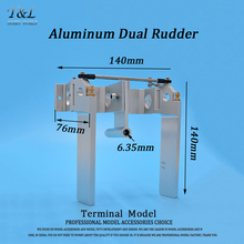 Aluminum Dual Rudder 140mm  For 1/4' Shaft RC Boat Gas O Boat