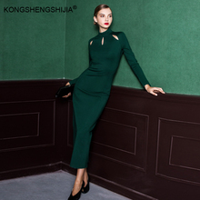 vintage hollow out long sleeve sexy o neck retro dark green floor length maxi latest dress designs for ladies 6248