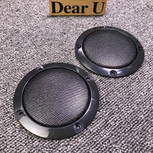 "JEAZEA Universal 2PCS 3"" Inch ABS Black Audio Speaker Cover Circle Metal Mesh Grille Trim Protection for Audi Honda VW Ford Kia"