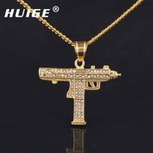 Hip Hop Gun Pendant Necklace For Men Women Gold Color Ice Out Rhinestone CSGO Charm Pendant Fine Quality Gold Cuban Chain(China)