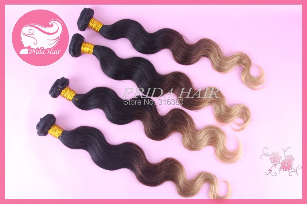 Prida Hair 7A Unprocessed Brazilian Virgin Hair Extension 3 Tone Ombre Hair Weave Body Wave Brazilian Human Hair Bundles 1B-4-27<br><br>Aliexpress
