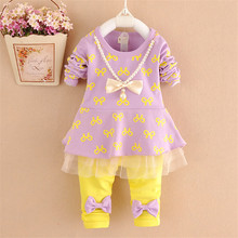 2017 Spring Fall Baby Clothing Set Little Girls Fashion Printing Spliced Bow Clothes Kids Long-Sleeve T-Shirt + Pants 2 Pcs G841