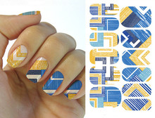 Water Transfer Nail Art Stickers Decal Full Wraps Geometric Vintage Blue Plaids Design DIY French Manicure