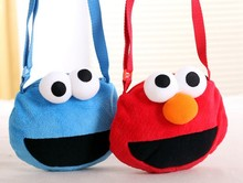 Candice guo cute plush toy coin bag cartoon Sesame Street Elmo cookie monster small crossbody children girls birthday gift 1pc