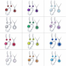 Hutang Natural Multi Birthstone Solid 925 Sterling Silver Ring Pendant Earrings Gemstone Jewelry Sets presents Gift For Women(China)