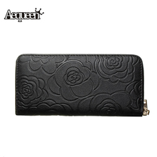 Women Wallet Pu Leather Long Coin Purse Floral Zipper Pouch Brand Designer Black Rose Flower Credit Card Holders Money Clutch(China)