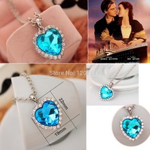 New Titanic Heart of Ocean Charm Blue Crystal Rhinestone Pendant Necklace For Women-W128