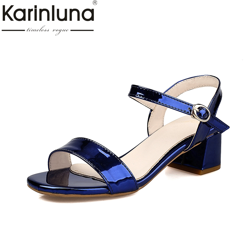 Karinluna Wholesale Plus Size 32-43 Ankle Strap Sandals Fashion Square Heels Date Casual Women Shoes Woman Footwear<br>