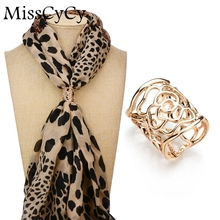 MissCyCy New Arrival Vintage Brooch Gold Colors Scarf Clip Hollow Rose Flower Brooches For Women Gift