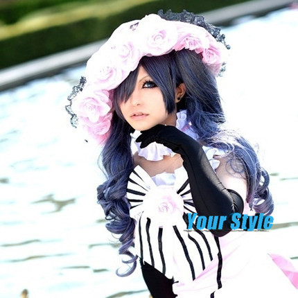 Japanese Black Butler Ciel Phantomhive Wig Synthetic Long Wavy Blue Grey Cosplay Wig Perruque Longa<br><br>Aliexpress