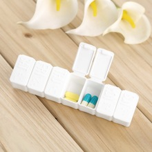 Mini Pillbox Container Non-removable plastic Case One Week 7-days small Medicine Pill Drug Box