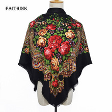 [FAITHINK] Floral Printed Square Tassel Scarf Shawl Luxury Brand Spring Poncho Bandana Casual Cape Bufandas Lady Gift Scarves