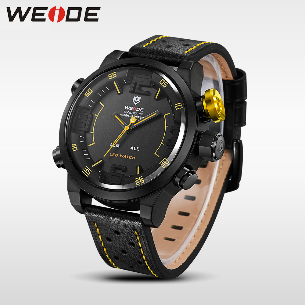 WEIDE Watch Men Sport Water Resist Black Leather Strap Over LED Display Auto Date Quartz Wristwatches relogio masculino clock<br>