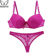 Buy Queenral Thong String Underwear Set Women Underwear Lingerie Set Push Cotton BC Cup Lady Intimates Bra Thong Suit