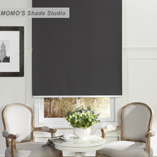 MOMO Window Blinds Curtains Solid Color 100% Blackout Roller Shades Blinds Thermal Insulated Waterproof Fabric Custom Size(China)