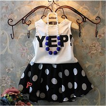 Girls' clothes 2017 summer girls' dresses 2-11 years old girl Princess Dress Suit / two piece style / Fashion sleeveless / print