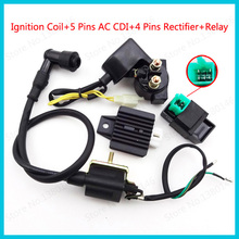5 Pins AC CDI Ignition Coil 12V Start Relay 4 Pin Voltage Regulator Rectifier For 50cc 70cc 90cc 110cc Dirt Bike Motorcycle ATV