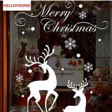 HELLOYOUNG Vinyl Christmas Shop Window Background Glass display White Snowflakes Reindeer Decorative  Removeable Wall Stickers