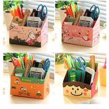 DIY Paper Board Storage Box Container Stand Stationery Makeup Cosmetic Organizer Holder School Office Desktop Accessories Hot