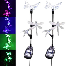 1pc/ 2pcs LED Butterfly Dragonfly Hummingbird Lawn Lamp Solar Power Outdoor Garden Party Christmas Decor Lights ALI88