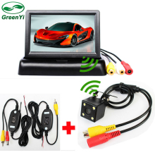 3 in 1 Wireless Parking Camera Monitor Video System, DC 12V Folding Foldable Car Monitor With Rear View Camera + Wireless Kit