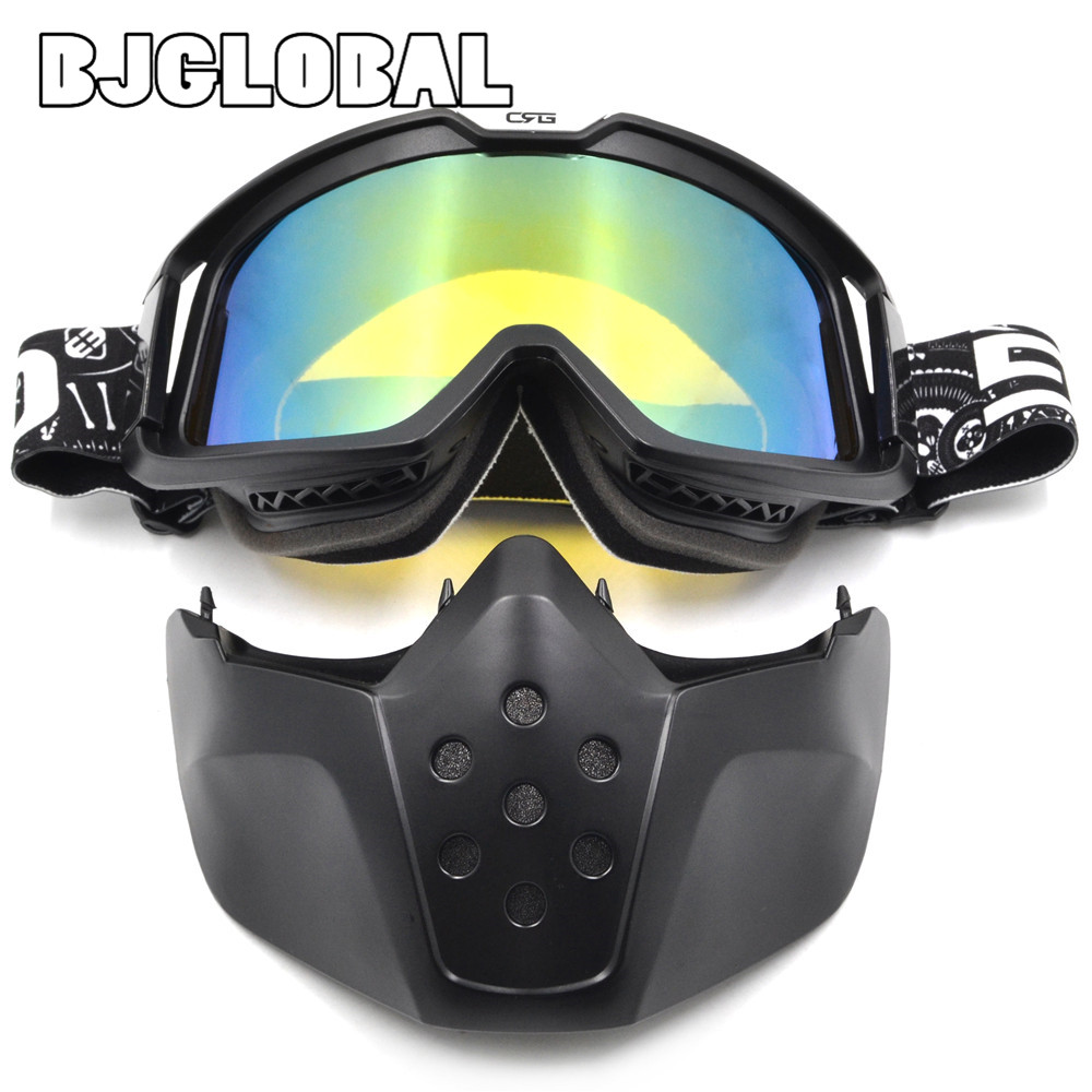 BJGLOBAL Motocross Goggles Dust Mask Face Glasses With Detachable Motorcycle Glasses Cycling Off Road Helmet Ski Sport Gafas
