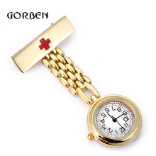 Fashion Red Cross Nurses fob watch quartz movement Gold Doctor fob watches for nurses pendant clip-on Medical reloj colgante(China)