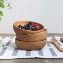 Eco-friendly No Paint Wood Bowls Creative Lovely Japan Style Bowls Children Rice Snack Fruits Bowls High Quality Creative Gift