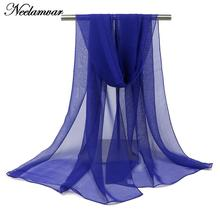 Neelamvar NEW women solid scarf ladies shawl thin long soft hijab and echarpe pashmina scarves luxury brand wholesale(China)