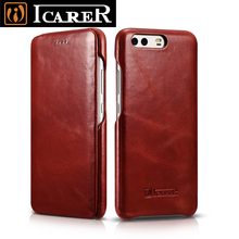 Curved Edge Vintage Flip Case for Huawei P10/ P10 Plus Premium Genuine Cowhide Leather Magnetic Closure Full Book Cover