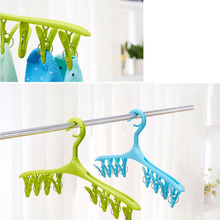 Home Travle Underwear Socks Dryer Dry Plastic Hook Rack Clothes Hanger 8 Clips 5.5hfx(China)
