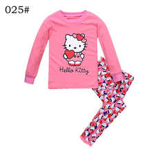 Brand New Children Pajamas Nightwear Leopard Hello Kitty Loungewear Kids Girls Homewear Spring Autumn Sleepwear Cotton Cartoon(China)