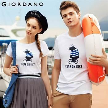 Giordano homens t-shirt 2017 clothing mangas curtas t-shirt crewneck tshirt gráfico impresso tee marca camiseta masculina
