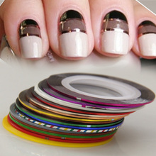 5pcs/lot nail line sticker mixcolor hot sale wire nail jewelry gold silver nail art tool(China)