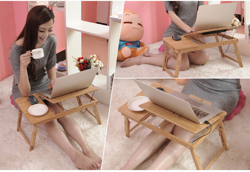 Bamboo Laptop Table Adjustable Computer Desk For Sofa Bed Folding Portable Laptop Table With Cooling Fan Notebook Stand Table 12