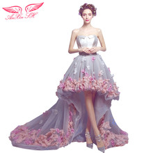 AnXin SH Before long and short Korean pink flower princess trailing prom dress flower lace prom dress 2762(China)