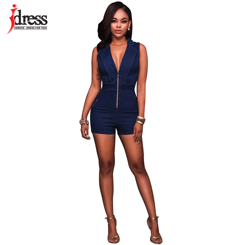 IDress Summer Deep V Neck Zippers Women Denim Playsuit Sleeveless Pockets Short Pant Ladies Bodycon Jumpsuit Party Romper Overall (9)