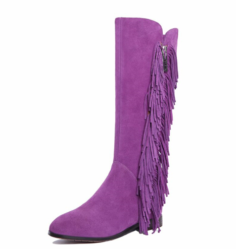 Brand Black Suede Boots Women Fringed Boots Korean Autumn And Winter 2016 Flat Heel Knee High Boots Purple Botas Femininas<br><br>Aliexpress