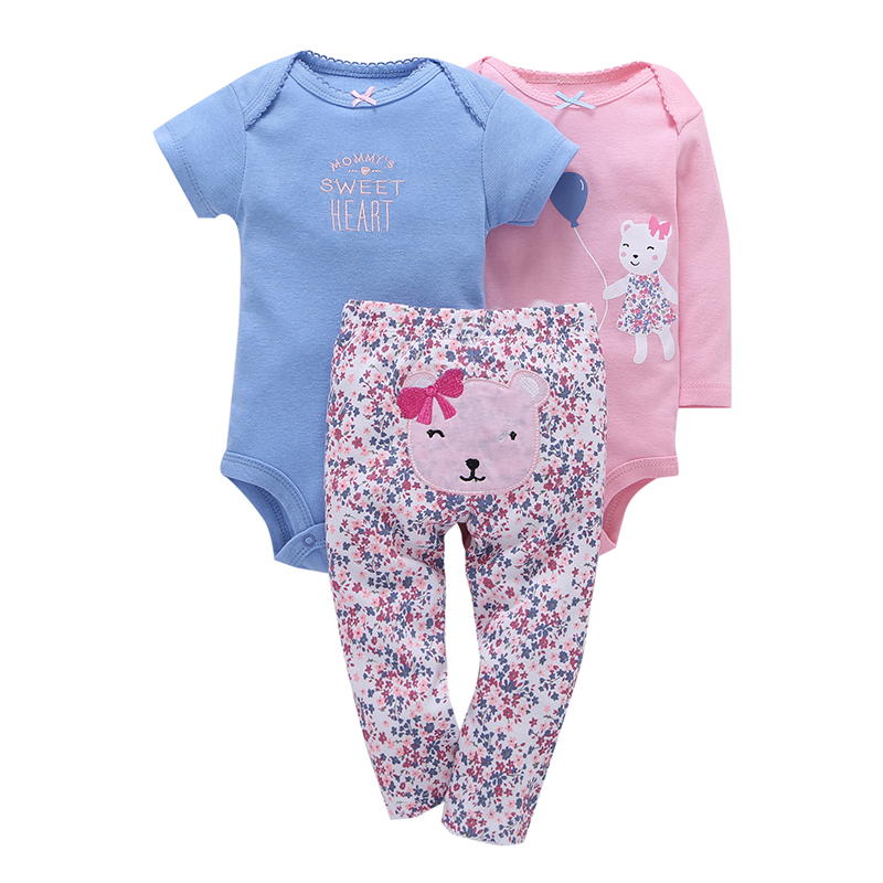 3 Pieces Sets Bear Sweet Heart Full Sleeve New Brand Candy Color Cute Baby Girls Boys Ropmer Floral Print Full Length Pants(China (Mainland))