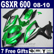 Injection mold lower price fairings for suzuki gsxr 600 750 08 09 10 green gold black fairing kit gsxr600 2008-2010 SA20(China)