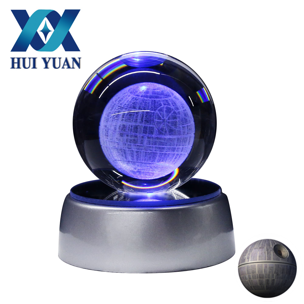 HUI YUAN 3D Crystal Ball Death Star LED Night Light Lamp Colorful Home Bedroom Decoration 5CM Diameter(China)