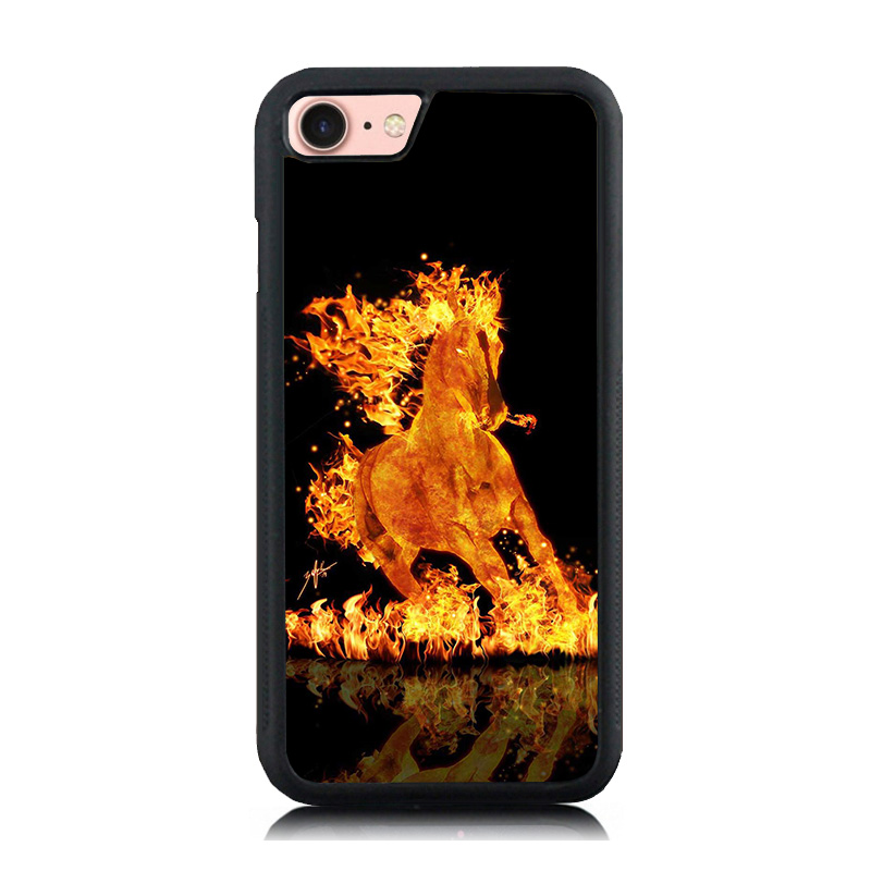 Flaming Burning Running Horse Paint Soft Rubber Phone Cases For Apple iphone 6 6S 6Plus 7 7Plus 5 5S 5C SE Hard PC Back Cover(China (Mainland))