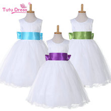 Flower Girl White Dress Pageant Wedding Bridal Dress Children Clothing For 1-12 Years old