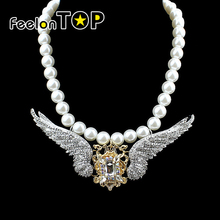 Wing Design Simulated Pearl Necklace Colar Perola New Designer for Women